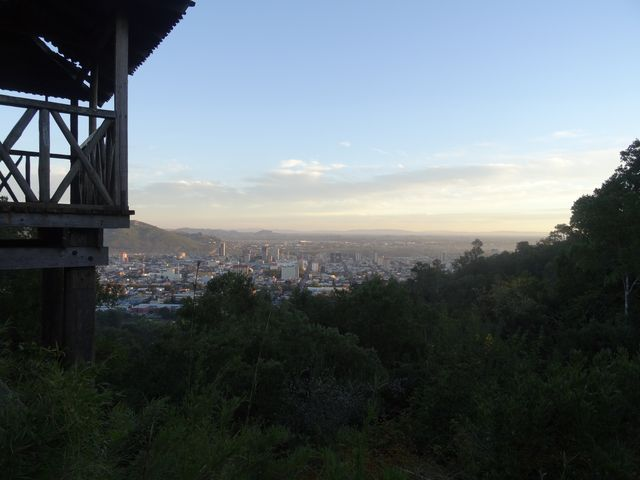View of Temuco in southern Chile, as seen from a mountain park at the edge of the city, where the natural forest has been preserved.