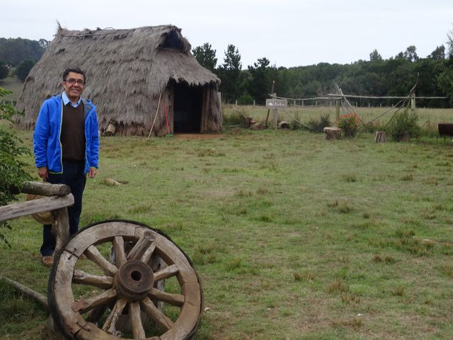 My invitation to Temuco was spearheaded by Eduardo Herrera Osorio, co-director of the School of Occupational Therapy at 'Universidad Mayor.' Here, on one of our field trips to visit Community Based Rehabilitation activities among the Mapuche tribal people, a traditional thatched hut, or ruca.