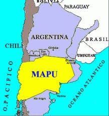 Map of the original Mapuche Nation, including areas of both Chile and Argentina, to which the native people hope to reclaim sovereignty