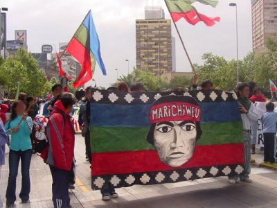 Mobilization of Mapuches in a town near Temuco