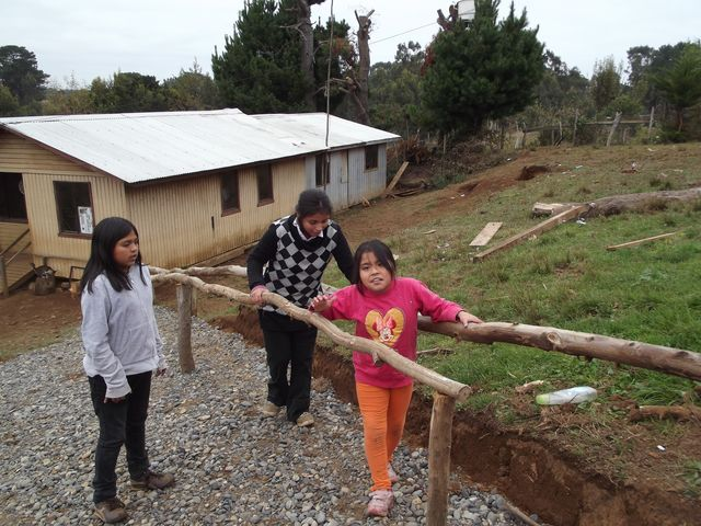 Two girls with ataxic cerebral palsy use rustic parallel bars to climb the steep slope to climb from their home to the road. The father found the idea in *Disabled Village Children.*