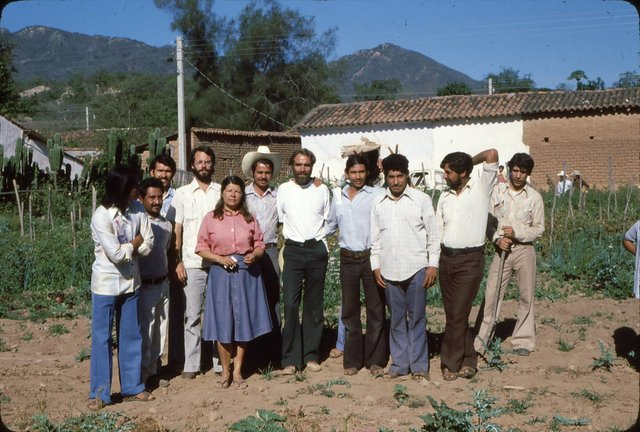 The core of the village health team, mid 1970s. Miguel Angel is in the center with hand on David's shoulder