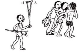 Carrying his crutches, they help him down the steep slope to the river, where Pedrito  with his arms strong from crutch use can swim as well or better than the others.