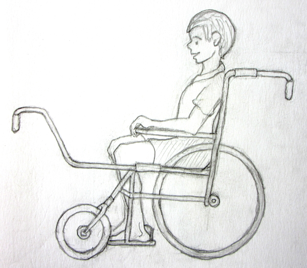Side view of a possible design for Tonio's wheeled carriage
